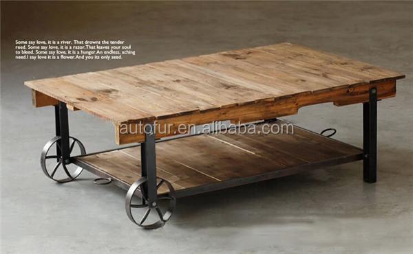 Retro de metal industrial mesa de comedor de madera superior-Mesas ...
