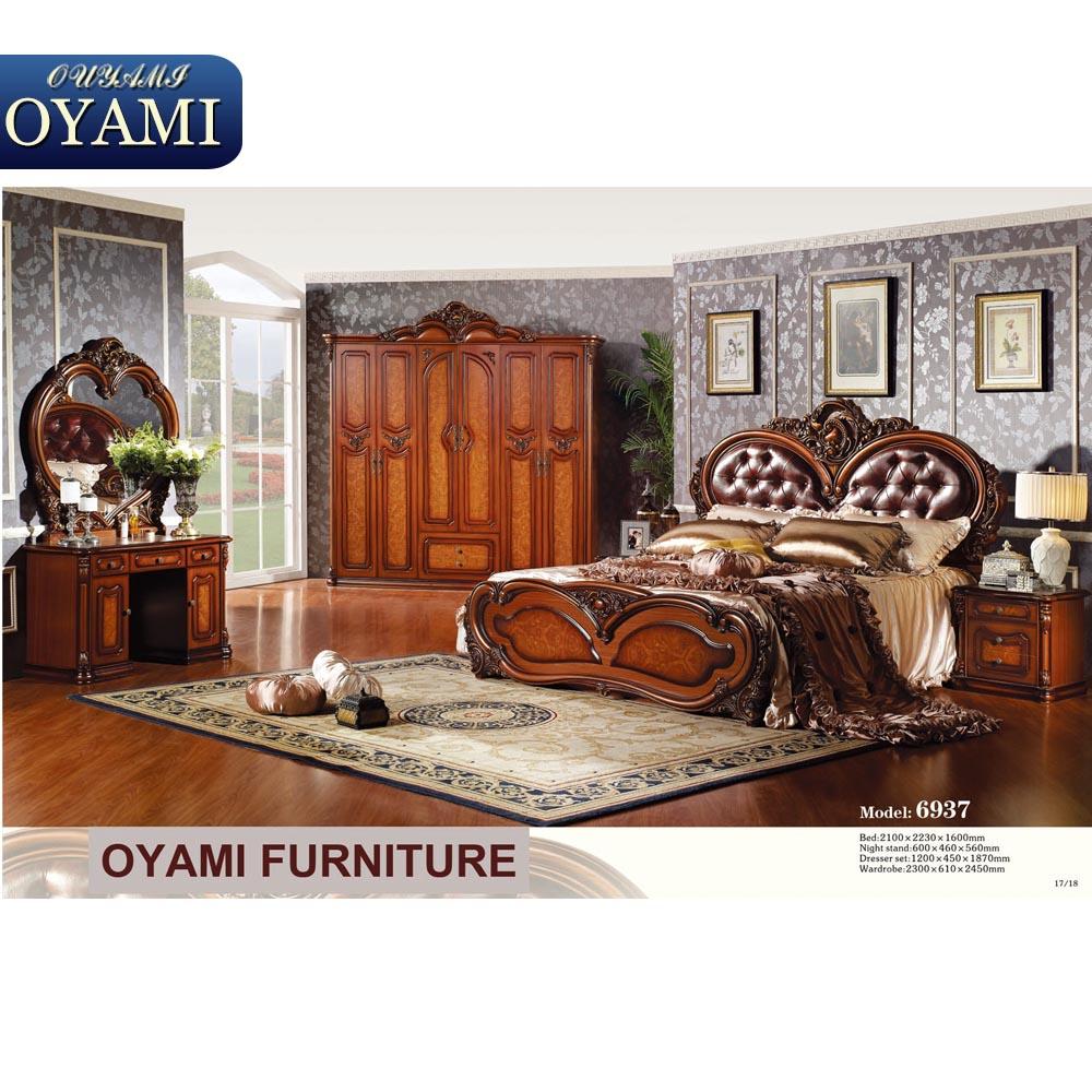 Haute qualité en bois base italien antique blanc chambre meubles ...