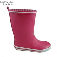 Children's Natural Rubber Rain Boot Manufacturer,Pure Red Ground Has No Printing With White Sole Welly