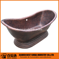 Royal style double slipper copper bathtub