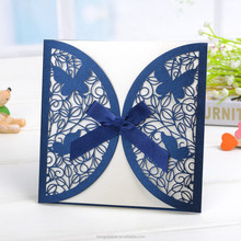 hot sale laser cut wedding invitation card greeting card with butterfly