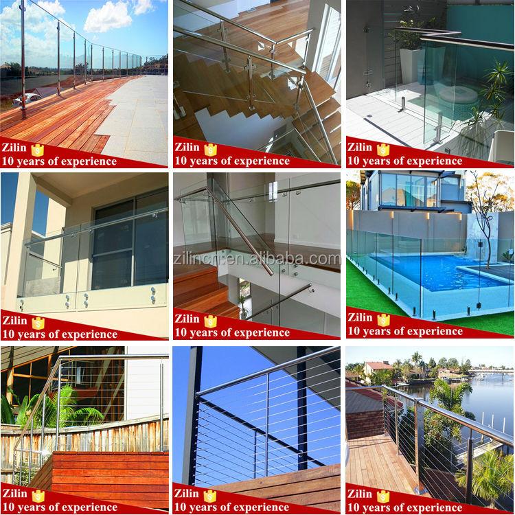 El diseño de acero inoxidable balcón barandilla de vidrio sin ...
