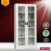 Glass 2 doors metal file cabinet dividers with low price