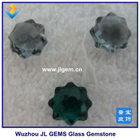 Lab Created Green Emerald Sun Flower Double Face Cut Glass stones , fgemstone china