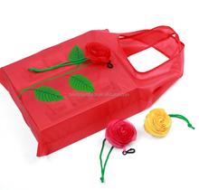 Hot seller colorful rose flower shape nylon shopping bag foldable