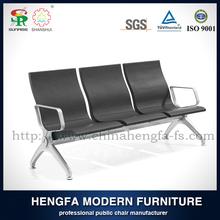 SUNRISE 3 seater antique wrought iron cheap modern design pu leather aluminum link stadium waiting chairs for bleachers