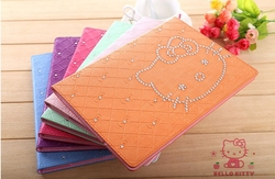 Cute cartoon hello kitty pu leather flip cover for Ipad2 3 4 Air Hot selling rhinestone decorated tablet case for Apple Ipad 6