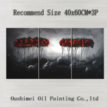 China Artist Handmade High Quality Black and Red Artwork Modern Abstract Red Trees Oil Painting For Living Room Decoration