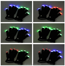 led gloves as gifts/Hot Sell Popular White Finger Led Black Glove Manufacturer