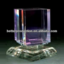 high quality square clear K9 crystal pen holder with revolving base for desktop stationary