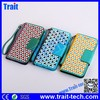 Grid Pattern Wallet case Magnetic Flip Stand phone case PC PU Leather Case for Samsung Galaxy S5 with a Strap