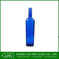 750ml tequila blue glass bottle
