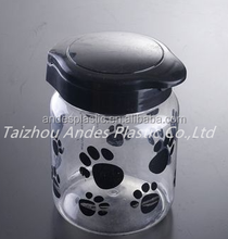 Transparent 1L Plastic pet food container with lid