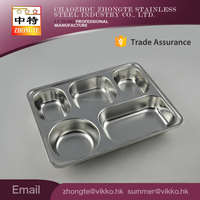Factory cheap Stainless steel fast food tray; 5 compartments dinning room tray with Lid lunch box for Africa