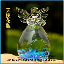 clear angel glass vase / christmas decoration vase / cheap hand blown glass vases