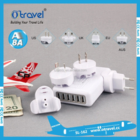 Usb travel charger Power Adapter US/AU/EU/UKPlug USB Travel Charger 6 USB Output for Smart phone