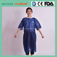 Polypropylene disposable patient gowns with short sleeves
