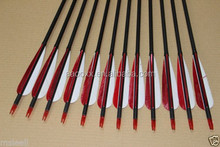 wholesale red and white Carbon fiber shafts arrows for recurve bow hunting