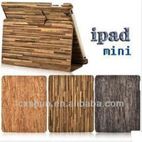 Wooden grain pattern leather case for ipad mini
