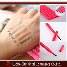 Fashion design double side automatic rotation solid waterproof eyebrow pencil with eyelash bursh wholesale