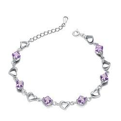 Lucky Bracelet of Lovers Belief and Faith Symbol Positive Silver Heart Bracelet Crystal Energy Bracelet