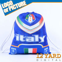 Promotion sublimation printed Italy flag Eco-friendly Nylon Fabric functional Sport game drawstring backpack Bags for fans