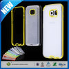 C&T 2015 Hot Selling 2 in 1 hybrid yellow bumper clear brush soft tpu case for samsung galaxy s6