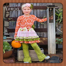 2015 yawoo children baby clothes girls ruffle leggings baby girls giggle moon remaker girls fall harvest outfits clothing sets