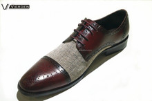 Baroque style mens genuine leather with fabric dress shoes
