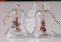 Clear glass crystal glass bell shaped ornaments for christmas decorations
