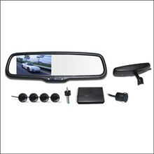 Auto dimming rear view mirror monitor special bracket mounted car reversing aid wireless reverse camera and parking sensor