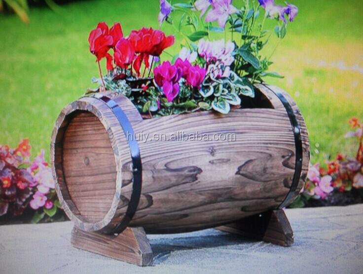 Jardin planteur en forme de tonneau en bois rustique fleur - Pot en bois exterieur ...