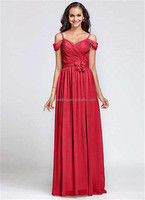 New Design Elegant Cheap Cap Off the Sleeve Red Blue Patterns A-Line Weddings Bridesmaid Dresses Long C46-2