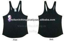 wholesale blank black ladies cheap loose evening tank tops