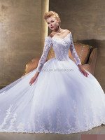 new arrival stunning long sleeve lace v neck exquisite dubai bridal wedding dress #OW448