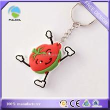 customized cartoon pvc keychain, 3D strawberry plastic pvc keychain
