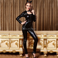 best quality sell well Sexy Female Cat Black PVC Adult Costume