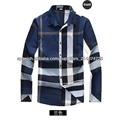 hombres azules súper- gran cheque camisa de moda