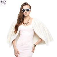 BG30975 Genuine Mink Fur Knitted Jackets striped 2015 fashion white black