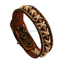 Wholesale Hand-woven vintage leather bracelet Punk deep coffee leather wide wristbands men's bengles