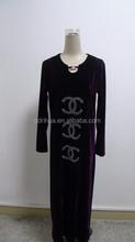 Latest rhinestone pattern keyhole front velvet long sleeve maxi dress