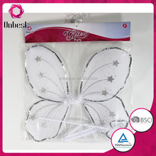 Newest fashion fancy dress butterfly wings with feather decoration for baby girls