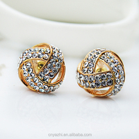 High quality alloy pave stone nepal earrings with real gold plated earring