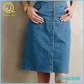 Nuevas chicas con estilo del dril de algodón botón frontal A-line de la falda