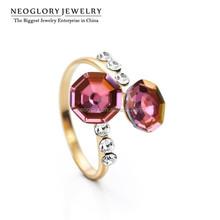 Jinhua Factory Wholesale Neoglory Austria Crystal Czech Rhinestone 14K Gold Plated Engegement Rings Fashion
