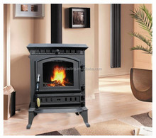 cast iron stove and fireplace