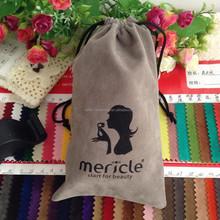 Drawstring wholesale large GREY velvet bags FOR boot,boot packing bag