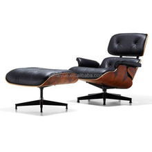New Fashion Black Leather Living Room Furniture Charles Eames Lounge Chair with Ottoman, Eames Relax Recliner Chair Set