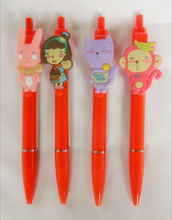 2014 Whpolesale professional retractable cheap cute cartoon banner pen ballpoint promotional pen