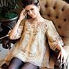 2015 OEM wholesale women clothing supplier delicate flower appliqued floral mesh women blouse